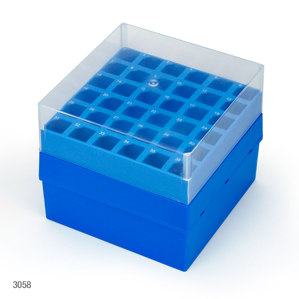 Storage Box With Lid For 15mL Centrifuge Tubes, 36-Place (6x6), PP, Blue Base & Clear Lid