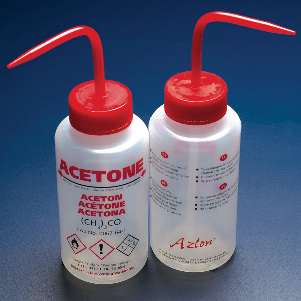 Wash Bottle, Acetone, 500mL, LDPE, Multi-Lingual, Safety Vented, RED Screwcap