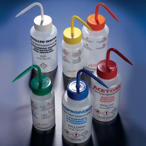 Safety Vented, Pre-Printed Wash Bottles