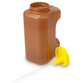 24 Hour Urine Collection Container, 3000mL (3 Liter), Affixed TransferTop Screwcap, Amber