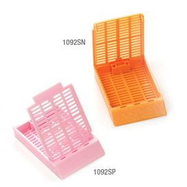 Cassettes in Sleeve, Tissue Embedding, Separate Dual Hinged Lid, 45° Writing Area, ORANGE, 75 Cassette/Sleeve and 75 Lids/Bag, 10 of each per Unit