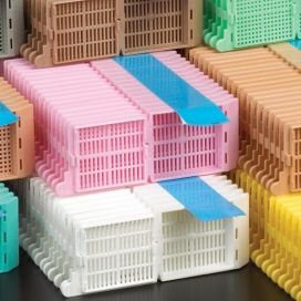 Cassettes in Taped Stack, Tissue Embedding with Attached Lid, 35° Writing Area, TAPED, YELLOW, 40 Cassettes/Taped Stack, 25 Stacks per Unit
