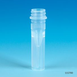 Microtube, 0.5mL, Self-Standing, Attached Screwcap for Color Insert, with O-Ring, STERILE, PP, 500/Bag, 2 Bags/Case