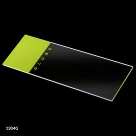 Microscope Slides, Glass, 25 x 75mm, 90° Ground Edges, Green Frosted