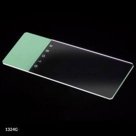 Microscope Slides, Glass, 25 x 75mm, 90° Ground Edges with Safety Corners, Green Frosted