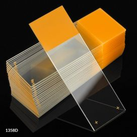 Microscope Slides, Diamond White Glass, 25 x 75mm, Charged, 90° Ground Edges, Gold Frosted