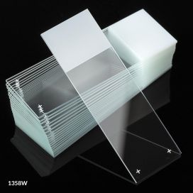 Microscope Slides, Diamond White Glass, 25 x 75mm, Charged, 90° Ground Edges, White Frosted