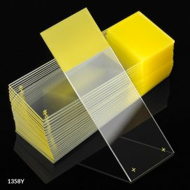 Microscope Slides, Diamond White Glass, 25 x 75mm, Charged, 90° Ground Edges, Yellow Frosted