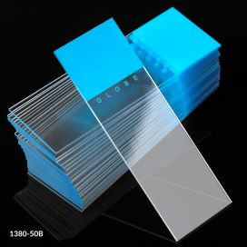 Microscope Slides, Diamond White Glass, 25 x 75mm, 90° Ground Edges, BLUE Frosted