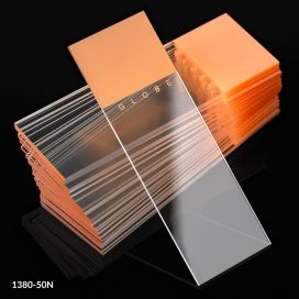 Microscope Slides, Diamond White Glass, 25 x 75mm, 90° Ground Edges, ORANGE Frosted