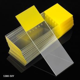Microscope Slides, Diamond White Glass, 25 x 75mm, 90° Ground Edges, YELLOW Frosted