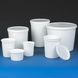 Container, Multi-Purpose, HDPE, Economy Style, 172oz, (5160mL), Separate Snap Lid, White