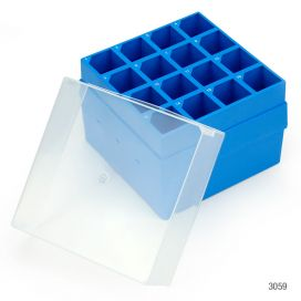 Storage Box with Lid for 50mL Centrifuge Tubes, 16-Place (9x9), PP, Blue Base & Clear Lid