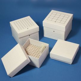 "Cardboard Storage Box, 81 Place (9x9), white, for up to 3"" tall x 13mm wide tubes"
