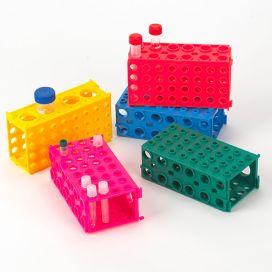 TUFFBLOK Tube Rack, 4-Way, PP, Link Together, Assorted Colors