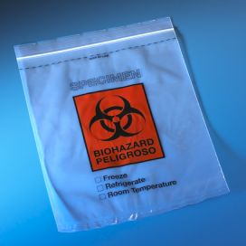 "Bag, Biohazard Specimen Transport, 8"" x 10"", Ziplock with Score Line and Document Pouch"