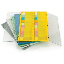 Slide File Folder with Clear Hinged Lids, 20-Place, HIPS/SAN, Yellow