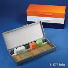 Slide Box for 50 Slides, Cork Lined, Assorted (Colors Include: Gray, Blue, Dark Gray, Orange, & White)