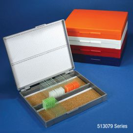 Slide Box for 100 Slides, Cork Lined, Assorted (Colors Include: Gray, Blue, Dark Gray, Orange, & White)
