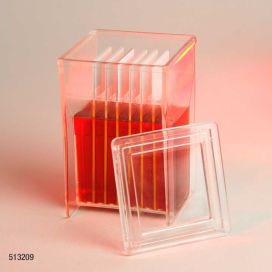 Slide Staining Jar with Lid, PMP, for 8 slides (16 back-to-back), Hellendhal Type