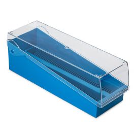 Slide Storage Box with Hinged Lid and Removable Draining Tray, 100-Place for up to 200 Slides, ABS, Blue