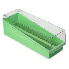 Slide Storage Box with Hinged Lid and Removable Draining Tray, 100-Place for up to 200 Slides, ABS, Green