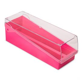 Slide Storage Box with Hinged Lid and Removable Draining Tray, 100-Place for up to 200 Slides, ABS, Pink