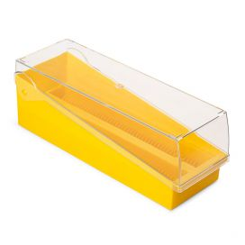Slide Storage Box with Hinged Lid and Removable Draining Tray, 100-Place for up to 200 Slides, ABS, Yellow