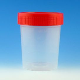 Specimen Container, 4oz, with Separate 1/4-Turn Red Screwcap, Non-Sterile, PP, Graduated, Bulk