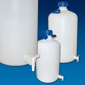 Carboys, with Spigot, Heavy Duty, 10 Liter (2.62 Gallon), HDPE, Spigot Included