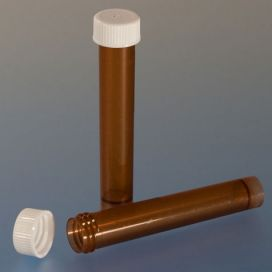 Transport Tube, 10mL, with Separate Screw Cap, AMBER, PP, Conical Bottom, Self-Standing, Molded Graduations