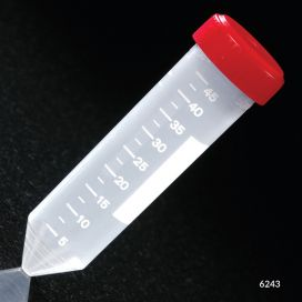 Centrifuge Tube, 50mL, with Attached Red Screw Cap, PP, Printed Graduations, STERILE, Racked.  25/Rack, 20 Racks/Case
