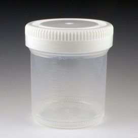 Container: Tite-Rite, Wide Mouth, 90mL (3oz), PP, 53mm Opening, Graduated, with Separate White Screwcap