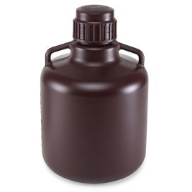 Carboys, Round with Handles, Amber HDPE, Amber PP Screwcap, 10 Liter, Molded Graduations