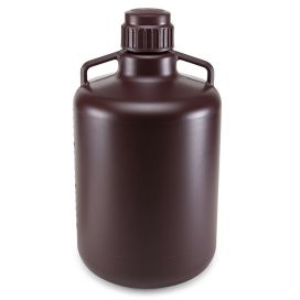 Carboys, Round with Handles, Amber HDPE, Amber PP Screwcap, 20 Liter, Molded Graduations, Autoclavable