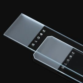 Microscope Slides, Diamond White Glass, 25 x 75mm, 45° Beveled Edges, Clipped Corners, Frosted: 1 End, 1 Side